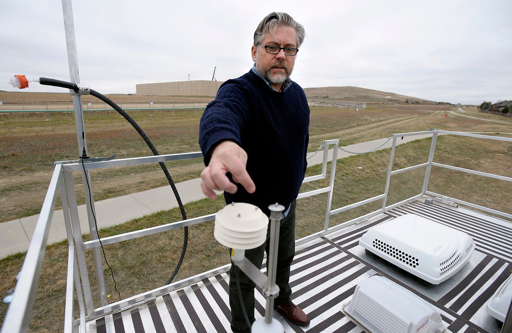 . Daniel Bon, PhD, Mobile Lab Lead Investigator of the Colorado Department of Public Heath and Environment,  explains how the lab sensors work from the roof of the lab.  The Colorado Department of Public Health and Environment has had a mobile lab roving the state in response to air quality complaints. It\'s in Erie for a few weeks in response to numerous complaints about oil and gas operations. For a video and photos gallery, go to dailycamera.com. Cliff Grassmick  Photographer November 2, 2017