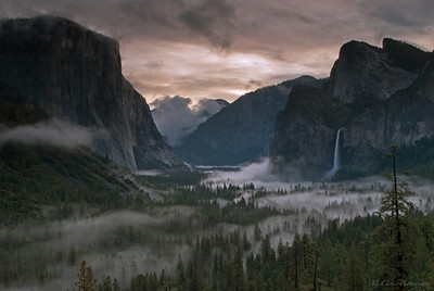 Sunrise at Tunnel View  After a weekend workshop where the rain was unrelenting, I delayed the drive back home (and work) and stayed to shoot. The waterfalls and river were overflowing and the air had that heavy smell of clean, wet evergreen.  I found myself lost in the magic.