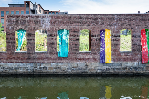 colored cloth in windows