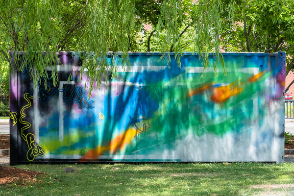 a painted container in a park