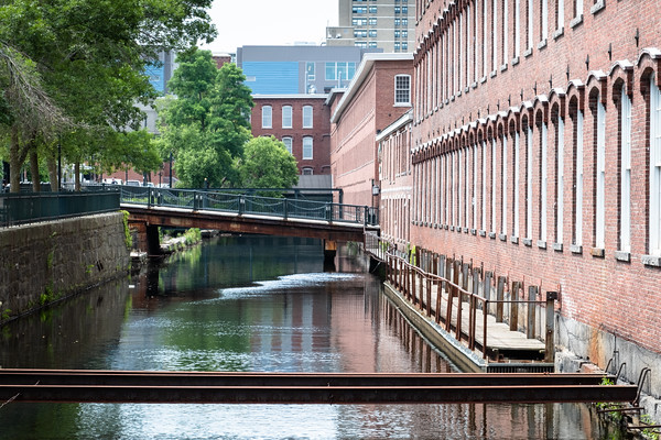 a canal and mill building, Lowell, MA