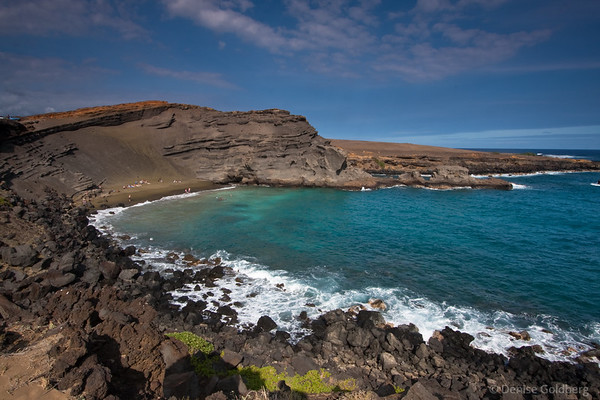 Green sand beach, a walk from South Point, Big Island, Hawaii
