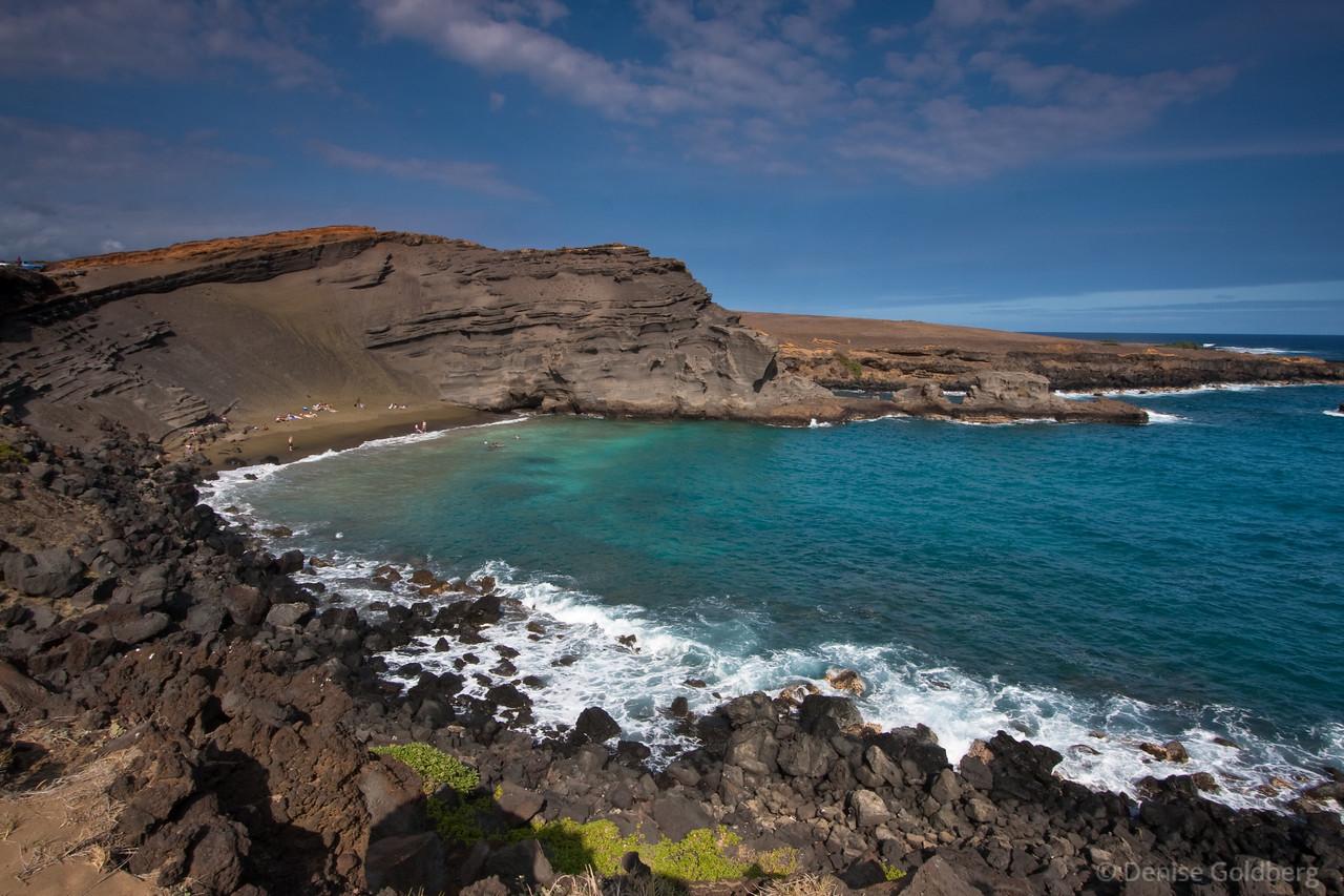 Green sand beach, a walk from South Point, Big Island, Hawaii