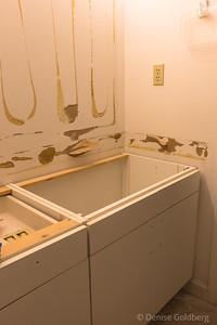 master bathroom sink and cabinets :: demolished