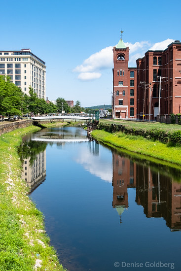 buildings and reflections, North Canal, Lawrence, MA
