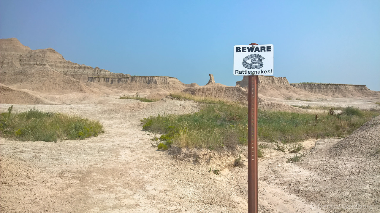 sign posted at the beginning of all trails in Badlands National Park