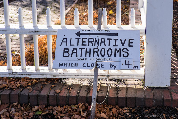 sign in Prescott Park pointing to alternative restrooms