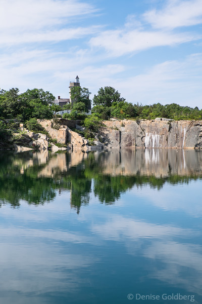 a perfect reflection, quarry cliffs as decorated by the birds at Halibut Point State Park