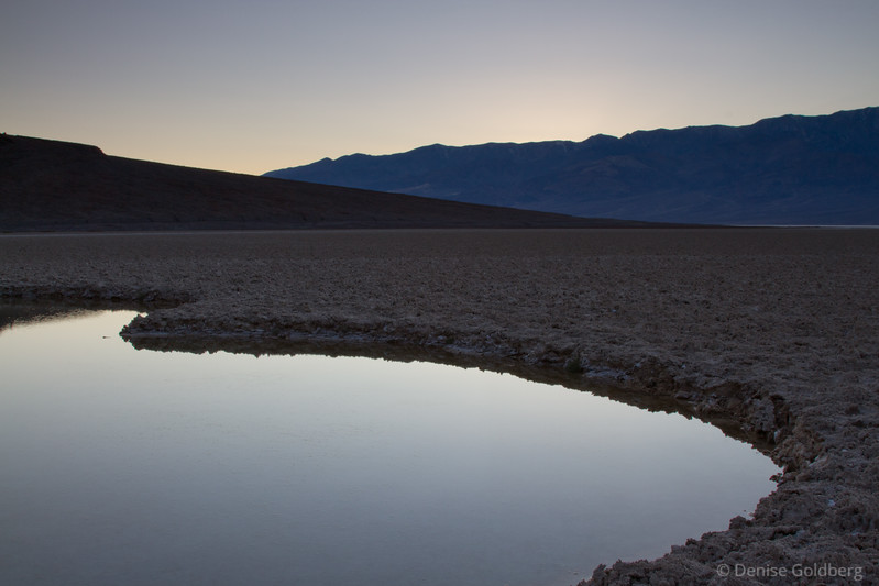 Just after the sun slipped behind the mountains, near Badwater in Death Valley National Park, California