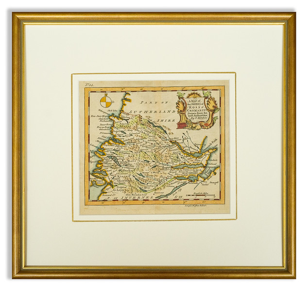 Pre-mounted Antique map of Ross & Cromarty by T Kitchin 1749