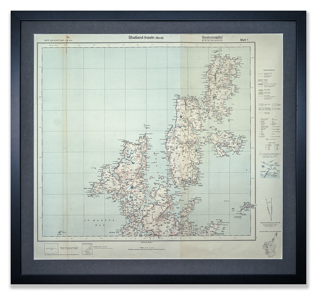 Detailed map of Shetland Islands (North) produced in in Germany in 1938