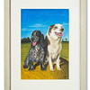 Pastel artwork of two dogs