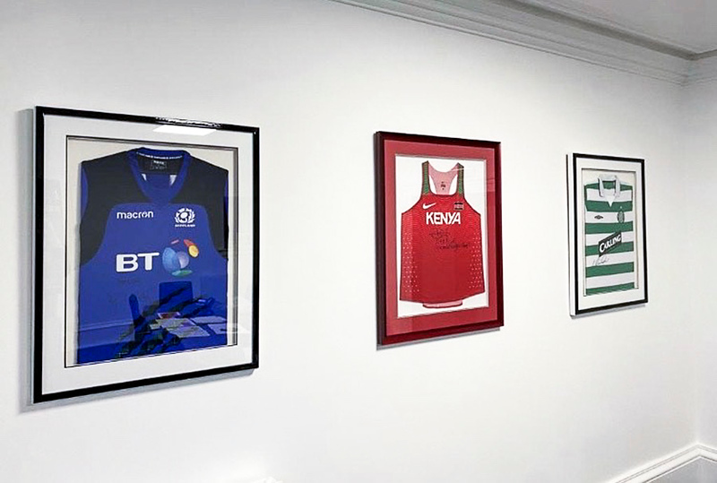 Sports shirts framed for one of our customers.