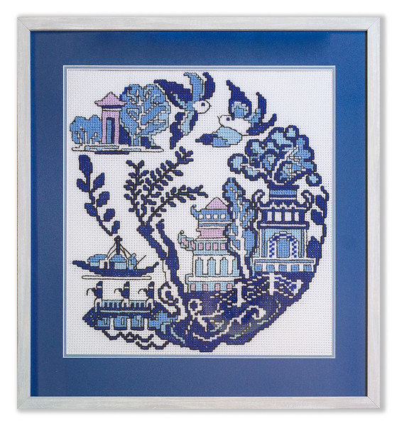 Bespoke cross-stitch design by Stuart Beattie based on the Willow Pattern