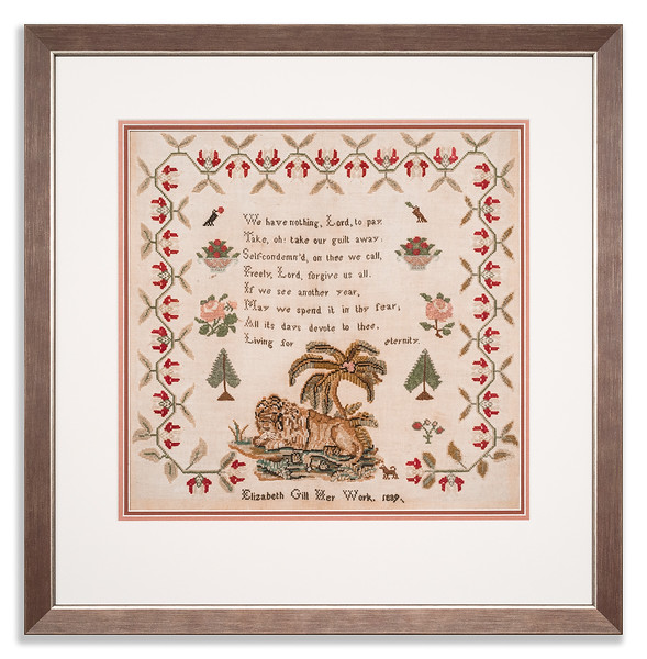Needlework sampler by Elizabeth Gill, 1889, aged 61 years old.