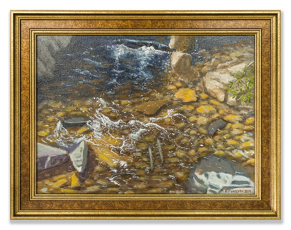 Oil painting of River Meig, Strathconon by Robert Forsyth