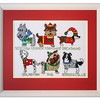 Bespoke needlework design by Stuart Beattie, Christmas Dogs.