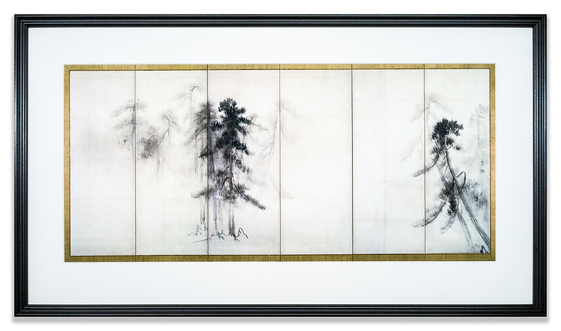 """Pine Trees"" reproduction of the right hand screen by Hasegawa Tohaku (1539 - 1610)"