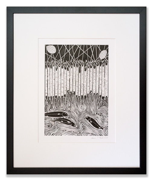 Birch Tree by the Stream, Original Pen & Ink artwork by Cathy MacLeod