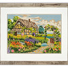 Tapestry of a country cottage and garden