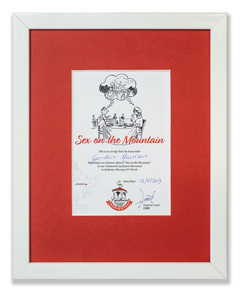 'Sex on the Mountain' Certificate issued by Andenes Restaurant 'Lysthuset Sørvesten', Norway 69° North