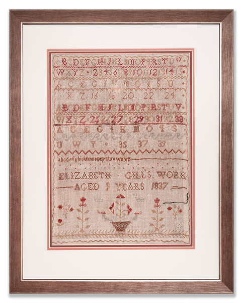 Needlework sampler by Elizabeth Gill, 1837, aged 9 years old.