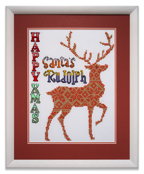 Bespoke needlework design by Stuart Beattie, 'Santa's Rudolph'.