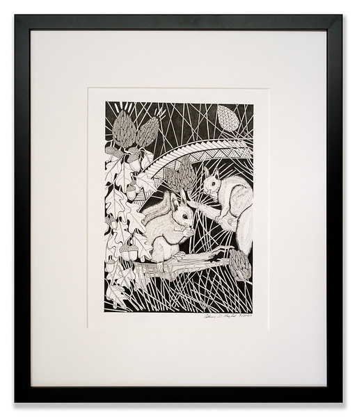 Red Squirrels in the Pines, Original Pen & Ink artwork by Cathy MacLeod