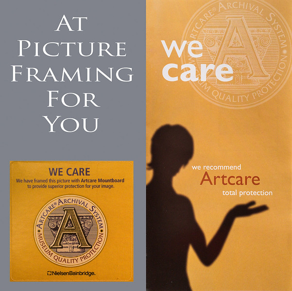 The Artcare brochure and frame label