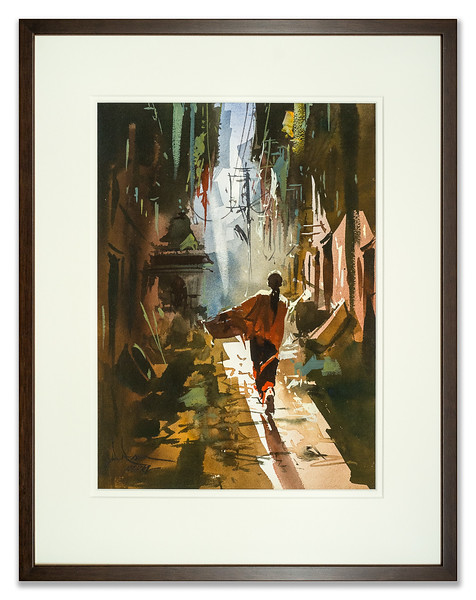 Watercolour of a street scene in Nepal.