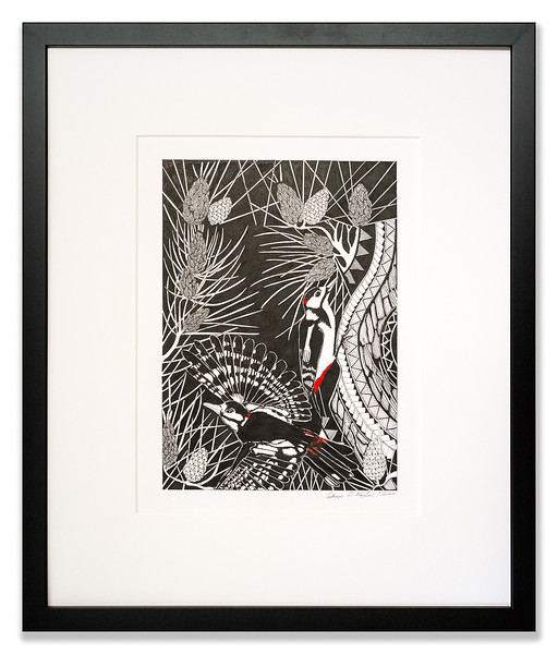 Great Spotted Woodpecker in the Pine, Original Pen & Ink artwork by Cathy MacLeod