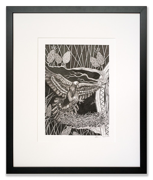 Golden Eagle in the Pines, Original Pen & Ink artwork by Cathy MacLeod