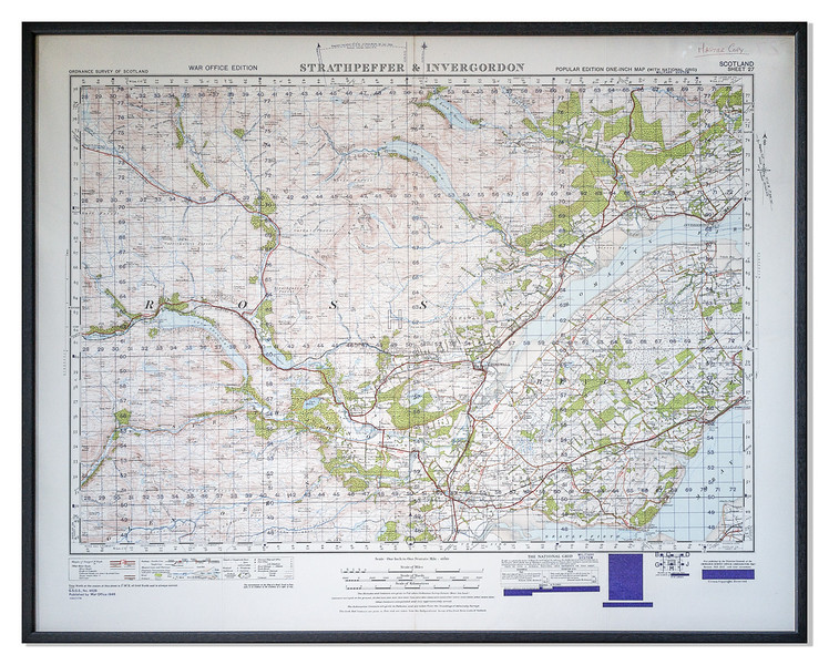Strathpeffer and Invergordon OS Map, War Office Edition 1947