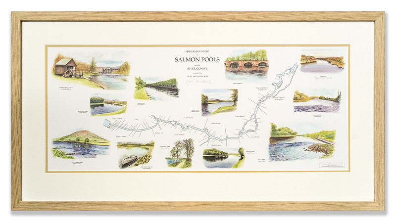 Fisherman's Map of Salmon Pools on the Conon River by Nigel Houldsworth & Daphne Harrison