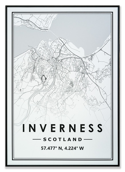 Map of Inverness road layout by Informed Digital Printing Ltd
