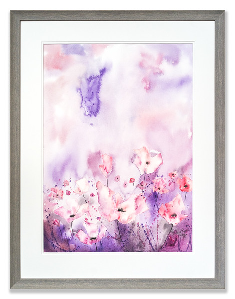 Original watercolour of Dancing Poppies by Scottish Artist Mike Ross