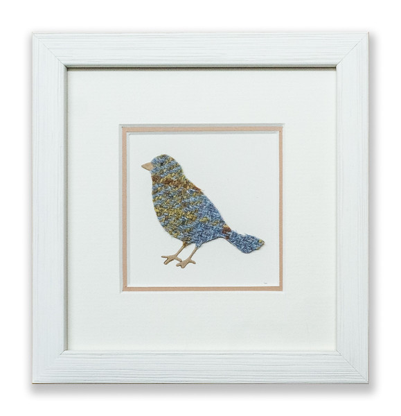 Greetings card with a textile artwork of a bird.