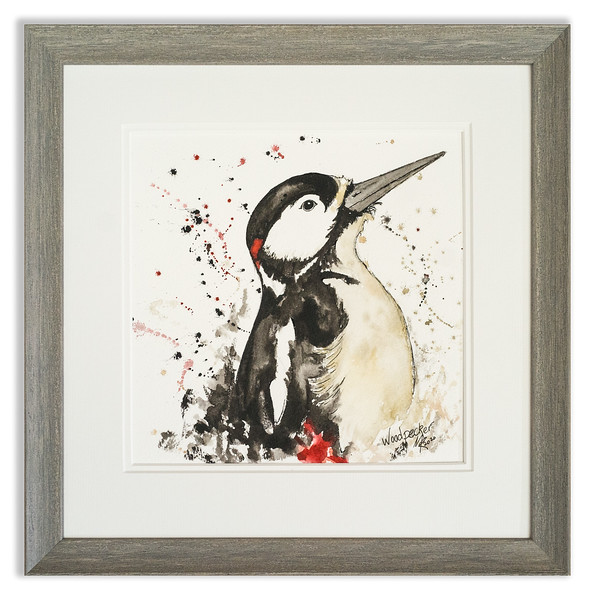 Watercolour of Woodpecker by Scottish Artist Mike Ross