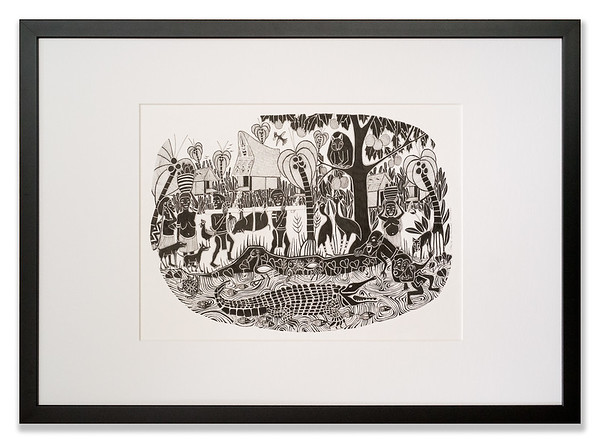 Village Life 1 - Crocodile Lurking from My People Series, Original pen and ink artwork by Cathy MacLeod