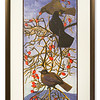Limited edition print Blackbirds & Rosehips by Robert Greenhalf