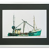 Print of green trawler by Edward Smith