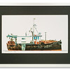 Print of black trawler by Edward Smith
