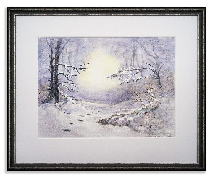 Watercolour of a winter scene.
