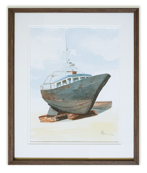 Watercolour of a boat by unknown artist.