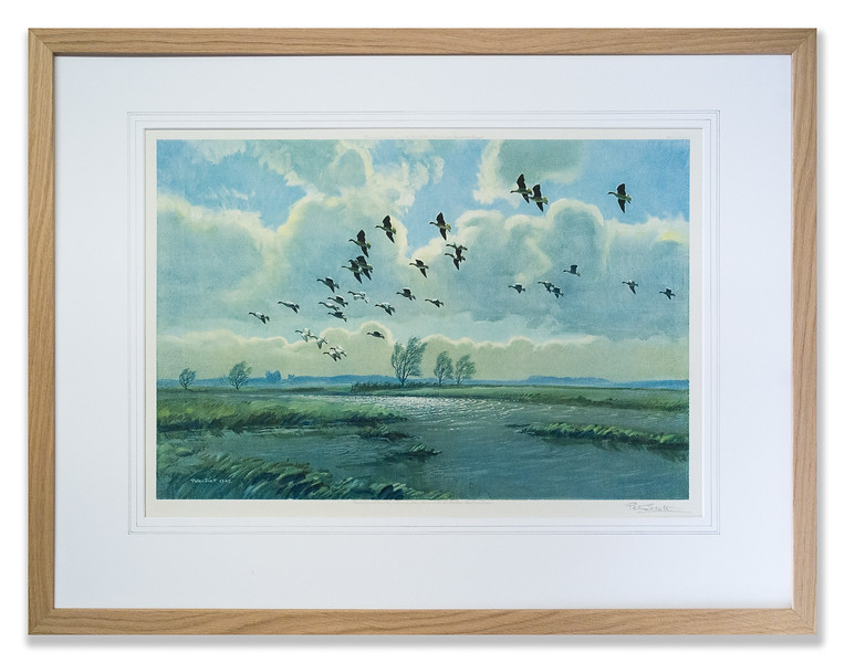 Print by Peter Scott, 'Pinkfeet over Green Marshes', embossed with the logo of the Fine Art Trade Guild