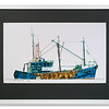 Print of blue trawler by Edward Smith