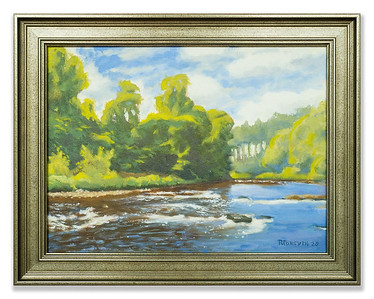 Original oil painting River Blackwater, Ross-shire by Robert Forsyth