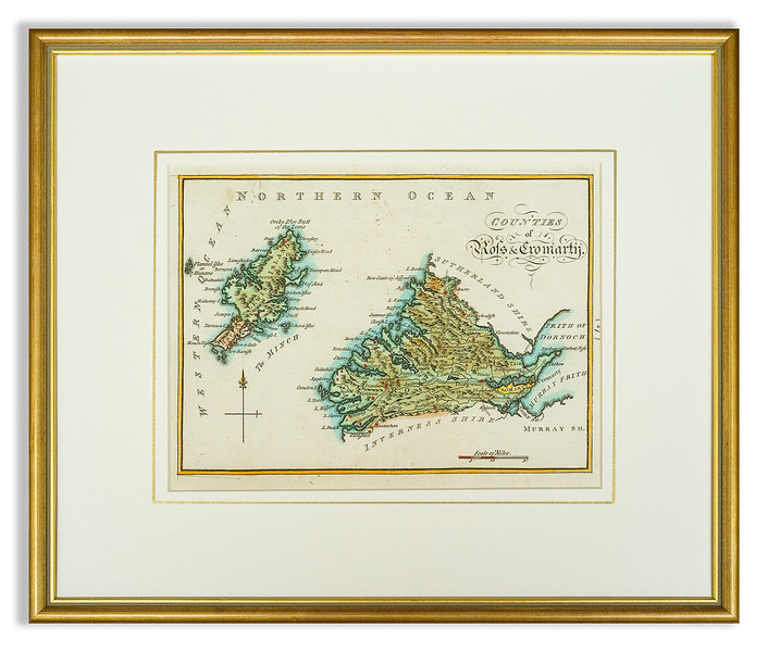 Pre-mounted antique map of the counties of Ross & Cromarty