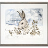 Original watercolour of Winter's Hare by Scottish Artist Mike Ross