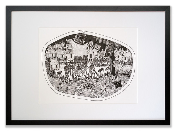 Village Life 3 - Oro Province Sing-sing, My People Series, Original pen and ink artwork by Cathy MacLeod